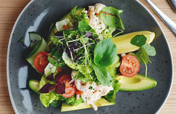 Greenland prawn and avocado salad